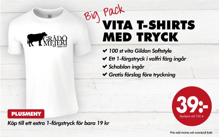 Gildan Big Pack: Vita t-shirts med tryck