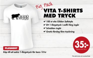 Gildan vita t-shirts med tryck